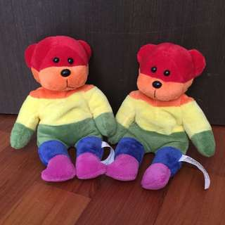 Rainbow Beanie Bears (pair)