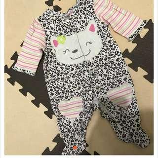 寶寶嬰兒俏皮可愛豹紋兔裝包腳
