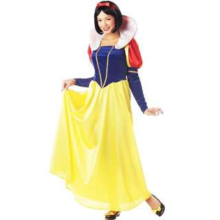 New Ladies Snow White FairyTale Fancy Dress Up Costume Halloween Long Gown Skirt