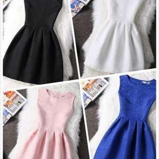 【襪底家】231純色無袖提花小洋裝