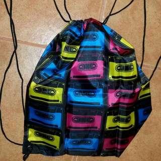 FREE GIFT Retro Cassette Print Drawstring Gym Bag Backpack