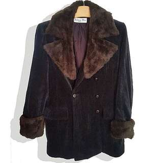 Christian Dior Brown Faux Fur Corduroy Coat