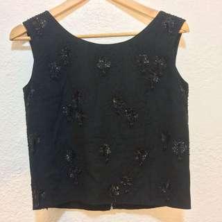 Vintage Silk Beaded Sleeveless Top