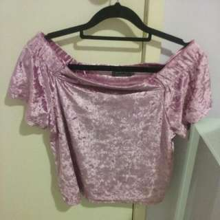 Pink off-the-shoulder Mirrou Shirt