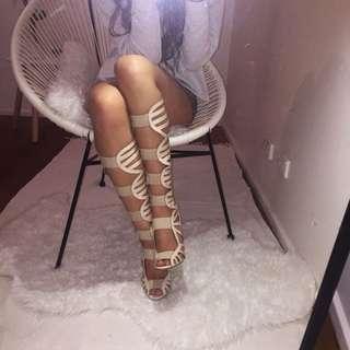 Knee High Strap Heels