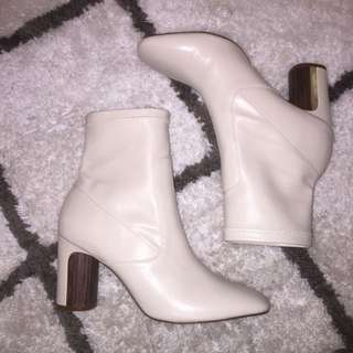 Zara Cream Boot Heels