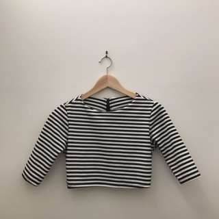 Stripe Crop top Mid Sleeve