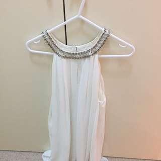 Jewelled Short White Dress
