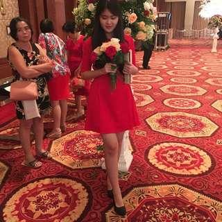 Dress Elegant Merah #jatuhharga