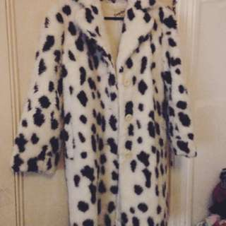Faux Fur Dalmatian Coat
