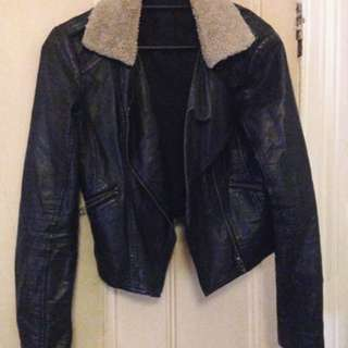 Glass ons Faux Leather Faux Sheepskin Jacket