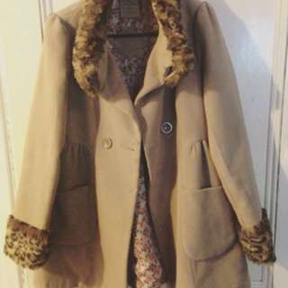 Leopard Print Trim Coat