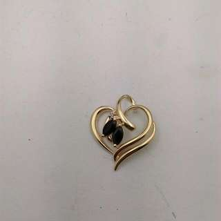 Genuine 9CT Yellow Gold Natural Sapphire And Diamond Pendant
