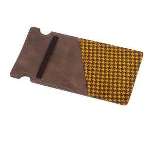 The Maverick Slim Wallet Slate with Goldenrod Houndstooth