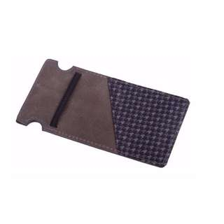 The Maverick Slim Wallet Slate with Charcoal Houndstooth