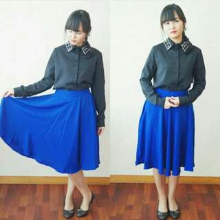 Royal Blue Flare Skirt