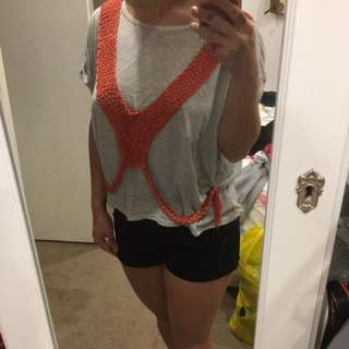 Cut Out Light Grey T-shirt Orange Tassel Embellishment