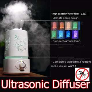 Diffuser Aroma Essential Oil Ultrasonic Diffuser Humidifier Zika Repellent Mosquito Repellent Air Purifier AROMATHERAPY DEHUMIDIFIER Christmas Present Xmas