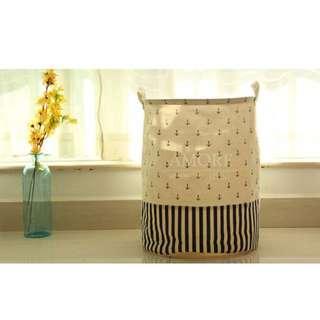 Zakka Anchor Design Linen Laundry Bag