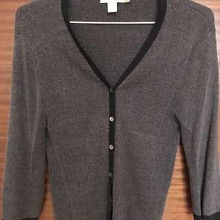 G2000 黑邊條灰色針織小外套 上班族外套 冷氣房必備 套裝外套