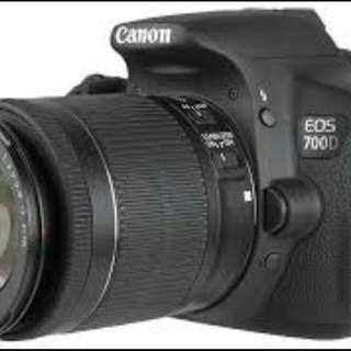 Canon Eos 700D + Lens (18-55mm) + Bag+ 1 Battery + 32g SD Card + Charger + USB Cord + Books and CDs + Tripod