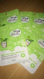 green tea essence mask sheet from korea 😘😘😘