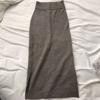 WILFRED TAUPE KNIT PENCIL SKIRT