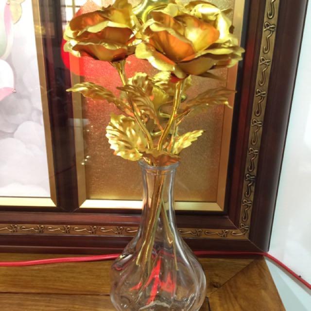 ❤️超低價❤️金玫瑰花瓶❣️一對❣️