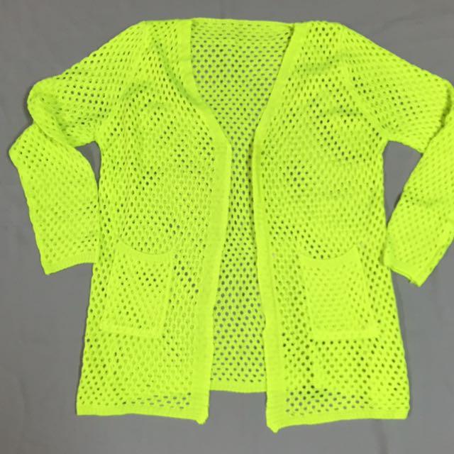螢光針織罩衫