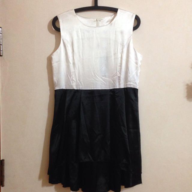 韓國時尚絲綢材質黑白洋裝
