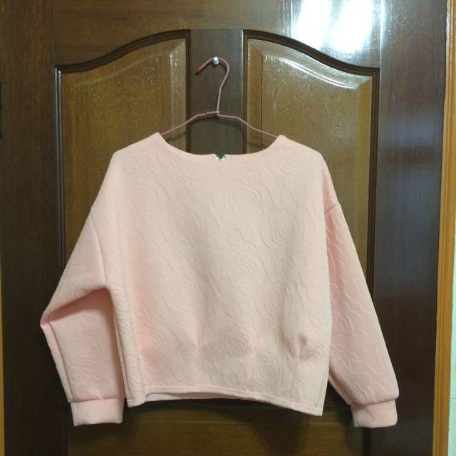粉紅玫瑰短版上衣