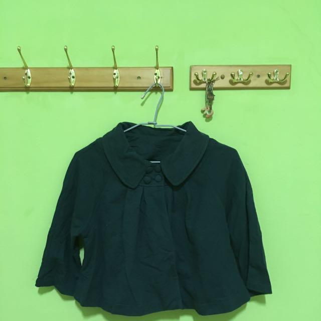 可愛優深綠雅罩衫