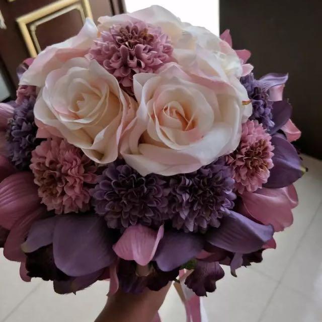 新娘玫瑰手捧花 送胸花一對