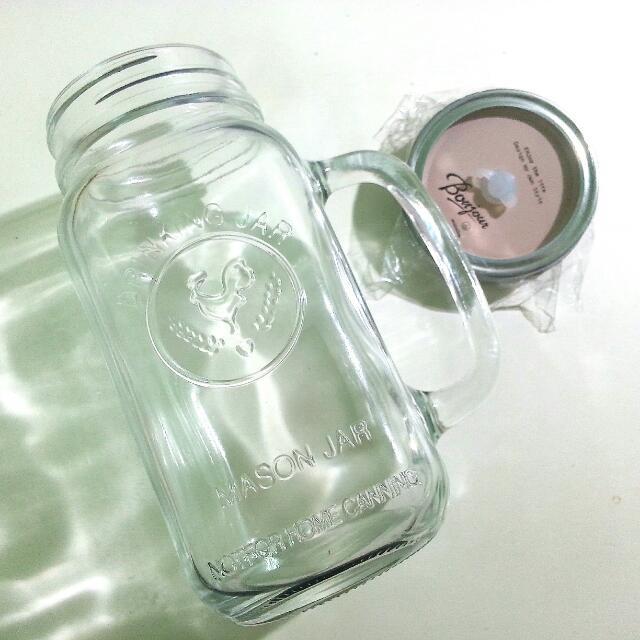梅森瓶 玻璃瓶 儲存罐 700ml(全新)剩藍色杯蓋1個