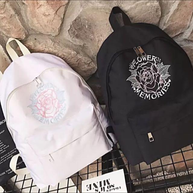 全新 歐美個性少女的玫瑰刺繡 雙肩後背包 自留選物