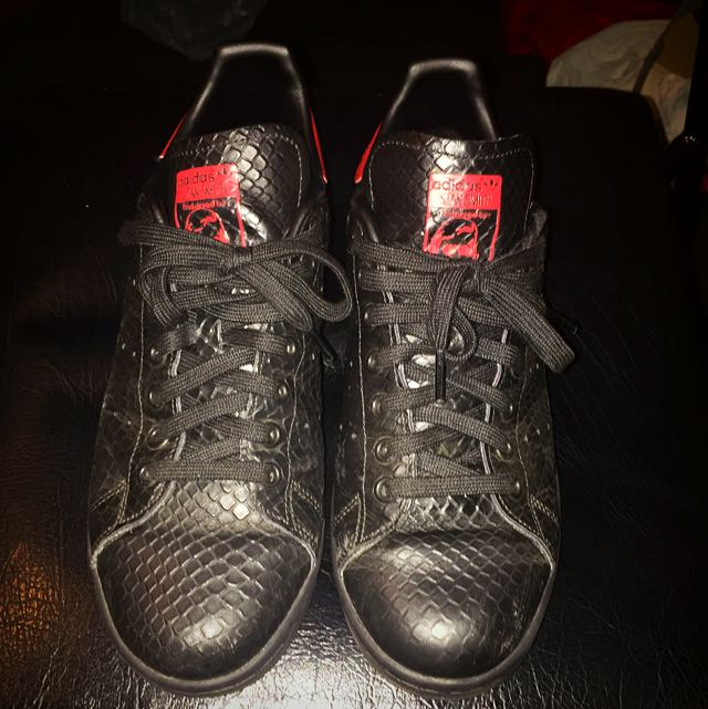 Adidas Stan Smith Black And Red Snakeskin Edition