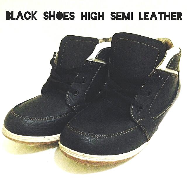 BLACK HIGH SEMI LEATHER SHOES