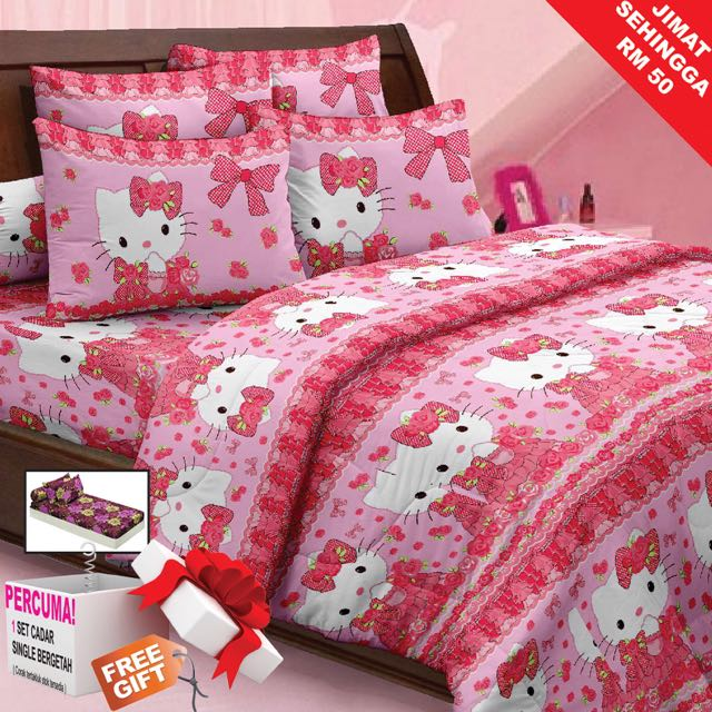 Cadar Bedsheets Pink Hello Kitty Home Furniture Decor On