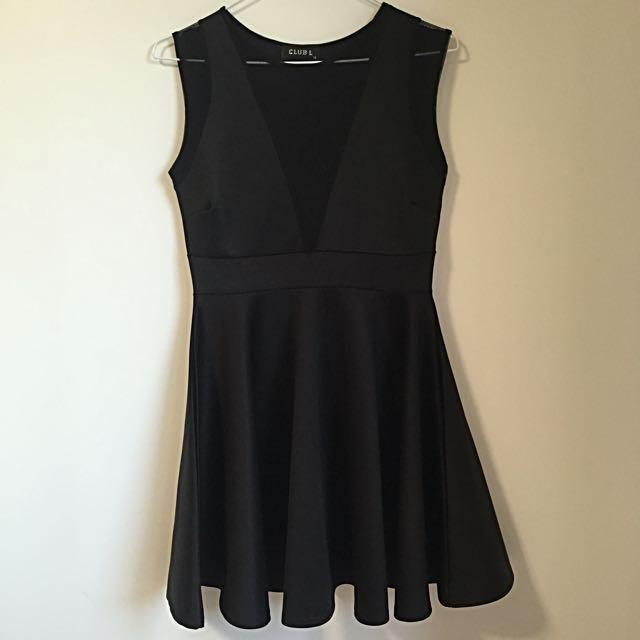 Club L (ASOS) Mesh Insert Skater Dress