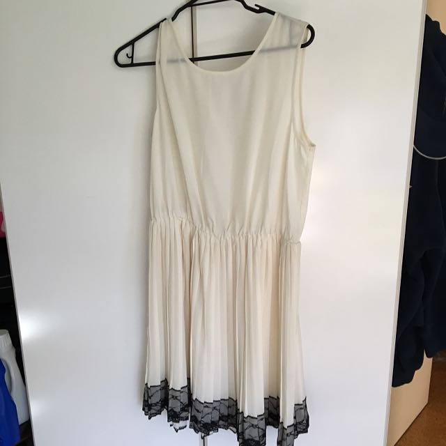 Cream Pleated Dress