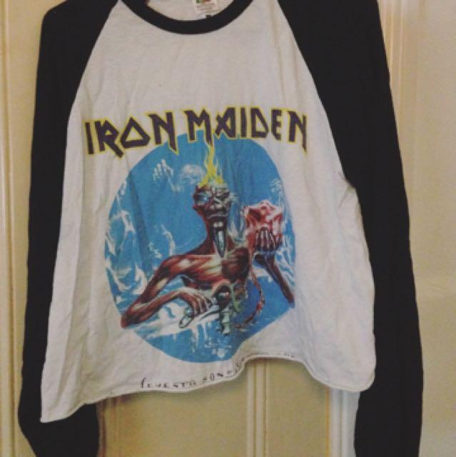 Cropped Iron Maiden Baseball Tee