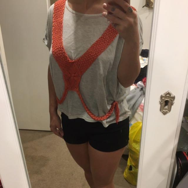 Cut Out Light Grey T-shirt Orange Tassel Embellishment