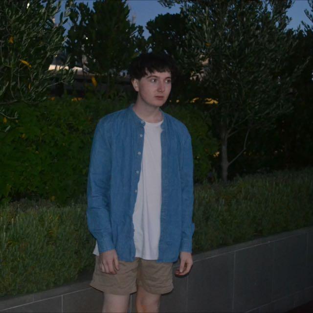 Denim Shirt With Oriental Collar