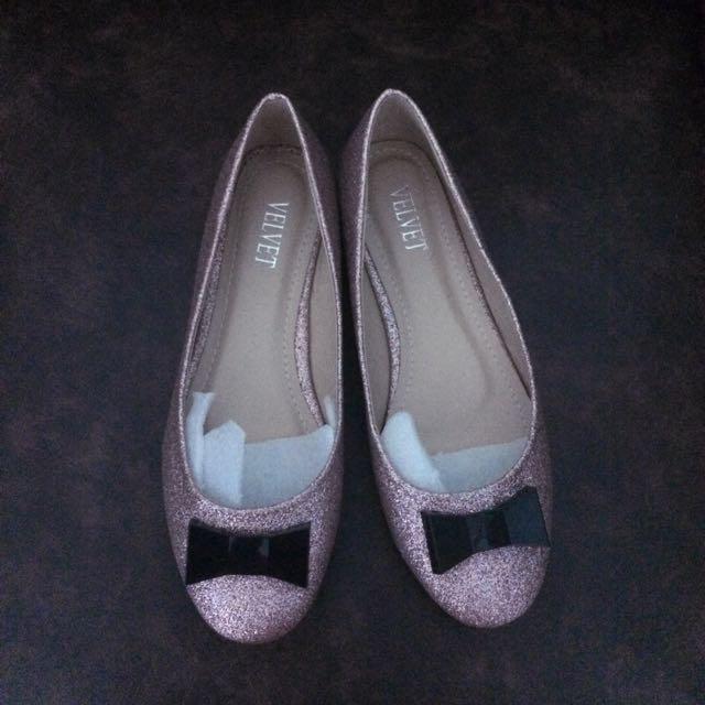 Flatshoes Velvet 37 Pink Glitter