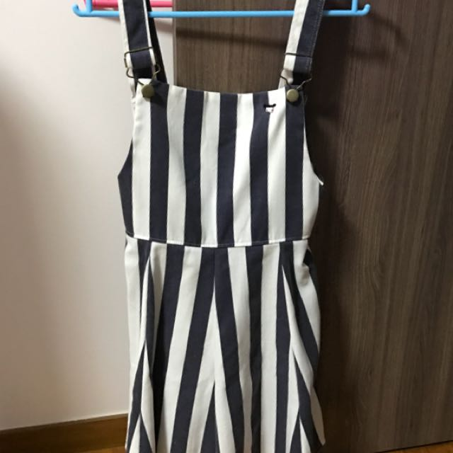 great quality enjoy cheap price latest trends (FREE NM) Stripes Dungaree Dress
