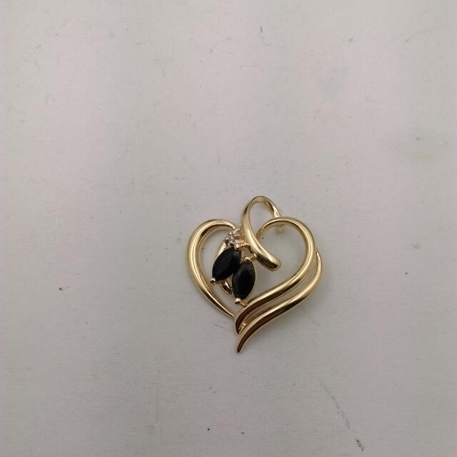 Genuine 9CT Yellow Gold Natural Sapphire And Diamond Pendant