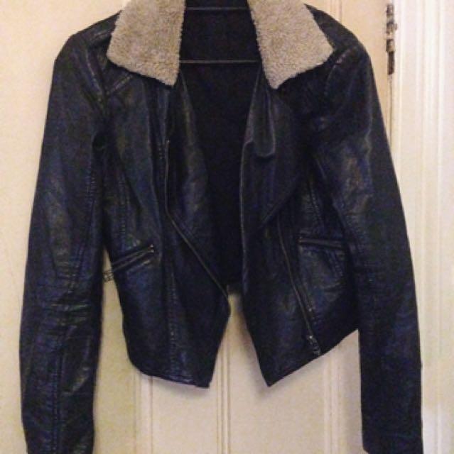 Glass ons Faux Leather Faux Sheepskin Jacket
