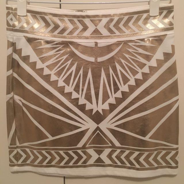 Gold Foul Print Skirt