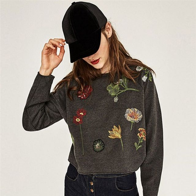 Grey Botanical Sequins Sweater