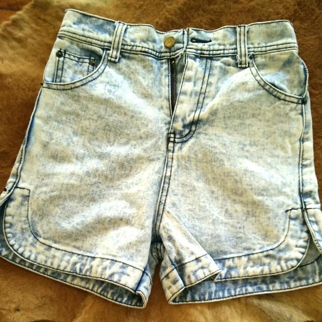 High Waist Acid-wash Denim Shorts